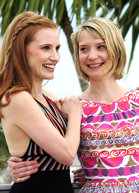"WWW.ACEPIXS.COM . . . . .  ..... . . . . US SALES ONLY . . . . .....May 19 2012, Cannes....Jessica Chastain and Mia Wasikowska at the photocall for ""Lawless"" at the Cannes Film Festival May 19 2012 in France ....Please byline: FAMOUS-ACE PICTURES... . . . .  ....Ace Pictures, Inc:  ..Tel: (212) 243-8787..e-mail: info@acepixs.com..web: http://www.acepixs.com"