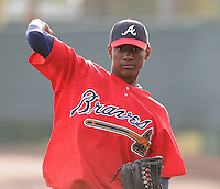 17 March 2009: RHP Julio Teheran of the Atlanta Braves at Spring Training camp at Disney's Wide World of Sports in Lake Buena Vista, Fla. Photo by:  Tom Priddy/Four Seam Images