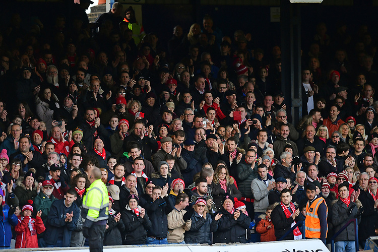 Lincoln City fans enjoy the pre-match atmosphere<br /> <br /> Photographer Chris Vaughan/CameraSport<br /> <br /> The EFL Sky Bet League Two - Luton Town v Lincoln City - Monday 1st January 2018 - Kenilworth Road - Luton<br /> <br /> World Copyright &copy; 2018 CameraSport. All rights reserved. 43 Linden Ave. Countesthorpe. Leicester. England. LE8 5PG - Tel: +44 (0) 116 277 4147 - admin@camerasport.com - www.camerasport.com