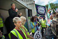 Councillor Richard Williams, leader of Southampton Labour Group on the council, speaking at a rally in Southampton after a joint Unison/Unite march on the day when 5 strikes are taking place: refuse collectors, Itchen Bridge toll collectors, traffic wardens, street cleaners and the cleaners who work for Medirest at Southamnpton General Hospital.