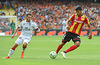 20190803 - LENS , FRANCE : Lens' Seif Touka (R) and Guingamp's Bryan Pele (L) pictured during the soccer match between Racing Club de LENS and En Avant Guingamp , on the second matchday in the French Dominos pizza Ligue 2 at the Stade Bollaert Delelis stadium , Lens . Saturday 3 th August 2019 . PHOTO DIRK VUYLSTEKE | SPORTPIX.BE