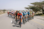 The peloton with Antonio Nibali (ITA) Bahrain-Merida, Pim Ligthart (NED) Direct Energie and Artyom Zakharov (KAZ) Astana on the front during Stage 5 of the 10th Tour of Oman 2019, running 152km from Samayil to Jabal Al Akhdhar (Green Mountain), Oman. 20th February 2019.<br /> Picture: ASO/P. Ballet | Cyclefile<br /> All photos usage must carry mandatory copyright credit (&copy; Cyclefile | ASO/P. Ballet)