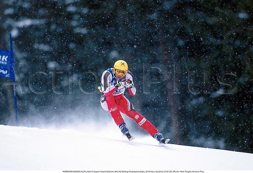 HERMANN MAIER (AUT), Men's Super Giant Slalom, World Skiing Championships, St Anton, Austria, 010130. Photo: Neil Tingle/Action Plus....2001.winter sport.winter sports.wintersport.wintersports.alpine.ski.skier.man