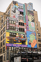 A mural by the artists Faile on the side of the building that  contained the historic Record Plant recording studio in the Hell's Kitchen neighborhood of New York is seen on Monday, January 6, 2014. The studio was where John Lennon was recording on December 8, 1980 just prior to returning home to the Dakota where he was shot. The mural was finished in September 2013. The building is currently home to the Birdland jazz club.  (© Richard B. Levine)