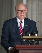 United States Senator Pat Roberts (Republican of Kansas) makes remarks at a Congressional Gold Medal ceremony honoring former US Senator Bob Dole (Republican of Kansas) that was also attended by US President Donald J. Trump in the Rotunda of the US Capitol on Wednesday, January 17, 2017.  Congress commissioned gold medals as its highest expression of national appreciation for distinguished achievements and contributions.  Dole served in Congress from 1961 through 1996, was the Senate GOP leader from 1985 through 1996, and was the 1996 Republican Party nominee for President of the United States.<br /> Credit: Ron Sachs / CNP