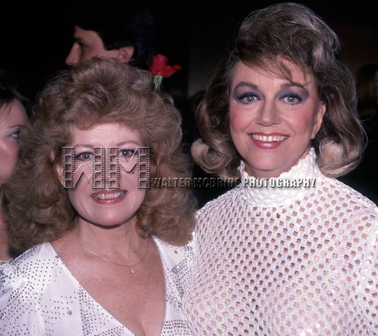Gloria DeHaven and Dorothy Malone attends The National Film Society's Eighth Annual Artistry in Cinema Awards on September 25, 1983 at The Sheraton Centre's Imperial Ballroom in New York City.