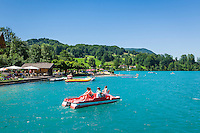 Austria, Upper Austria, Salzkammergut, Unterach am Attersee: hotel owned beach of Hotel and restaurant Stadler next to shipping pier Stockwinkel | Oesterreich, Oberoesterreich, Salzkammergut, Unterach am Attersee: hoteleigener Badestrand des Hotel und Seegasthof Stadler am Schiffsanleger Stockwinkel