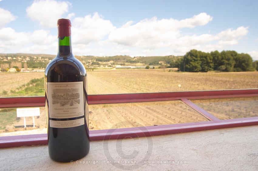 Double magnum bottle on the window ledge in the panorama window overlooking the vineyard Chateau Vannieres (Vannières) La Cadiere (Cadière) d'Azur Bandol Var Cote d'Azur France