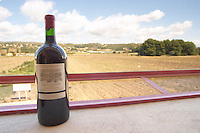Double magnum bottle on the window ledge in the panorama window overlooking the vineyard Chateau Vannieres (Vannières) La Cadiere (Cadière) d'Azur Bandol Var Cote d'Azur France