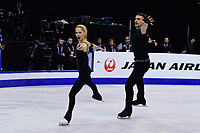 Friday, April 1, 2016: Alexa Scimeca and Chris Knierim (USA) compete in the Pairs Short Program at the International Skating Union World Championship held at TD Garden, in Boston, Massachusetts. Sui and Han placed first in the short program. Eric Canha/CSM