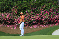 Rickie Fowler (USA) on the 13th green during the final round at the The Masters , Augusta National, Augusta, Georgia, USA. 14/04/2019.<br /> Picture Fran Caffrey / Golffile.ie<br /> <br /> All photo usage must carry mandatory copyright credit (© Golffile | Fran Caffrey)