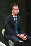 Italian National Champion Fabio Aru (ITA) on stage at the Giro d'Italia 2018 Route Presentation held in the RAI TV Studios, Milan, Italy. 29th November 2017.<br /> Picture: LaPresse/Fabio Ferrari | Cyclefile<br /> <br /> <br /> All photos usage must carry mandatory copyright credit (&copy; Cyclefile | LaPresse/Fabio Ferrari)