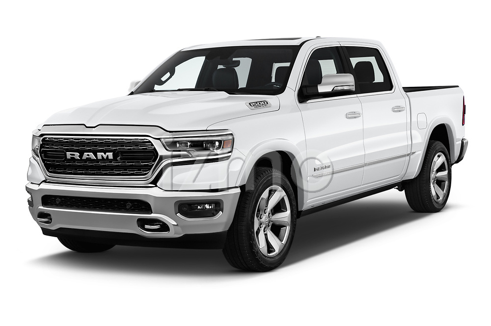 2019 Ram Ram 1500 Pickup Limited Crew Cab 4 Door Pick Up angular front stock photos of front three quarter view