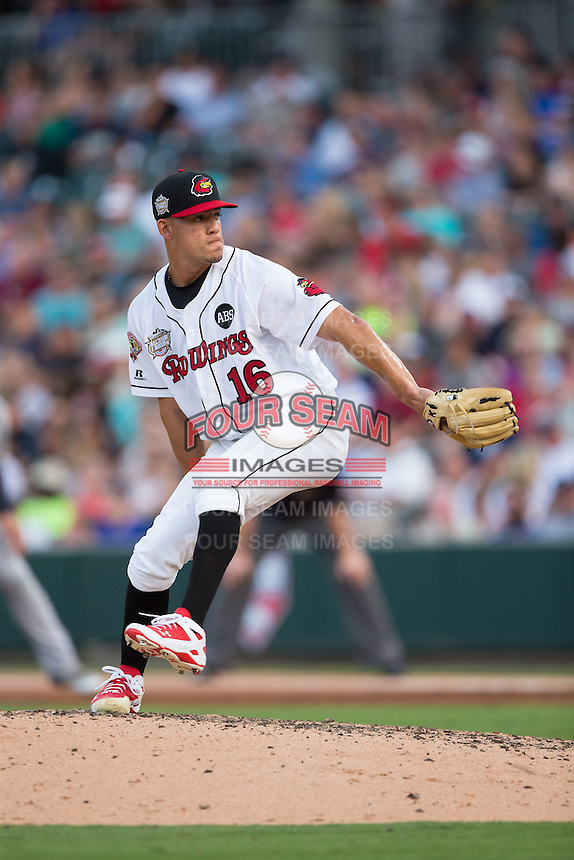 International League All-Star Jose Berrios (16) of the Rochester Red Wings in action against the Pacific Coast League All-Stars at the 29th Annual Triple-A All-Star Game at BB&T BallPark on July 13, 2016 in Charlotte, North Carolina.  The International League defeated the Pacific Coast League 4-2.   (Brian Westerholt/Four Seam Images)