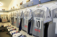 A general view of the Bath Rugby jerseys hung up in the changing rooms prior to the match. Aviva Premiership match, between Harlequins and Bath Rugby on November 27, 2016 at the Twickenham Stoop in London, England. Photo by: Patrick Khachfe / Onside Images
