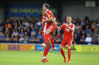 Josh Morris (centre) of Scunthorpe United celebrates his goal in the first half during AFC Wimbledon vs Scunthorpe United, Sky Bet EFL League 1 Football at the Cherry Red Records Stadium on 15th September 2018