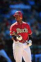 Apr. 27, 2011; Phoenix, AZ, USA; Arizona Diamondbacks outfielder Justin Upton against the Philadelphia Phillies at Chase Field. Mandatory Credit: Mark J. Rebilas-