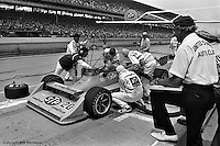INDIANAPOLIS, IN: Gordon Johncock makes a pit stop in his Wildcat II 3/DGS during the Indianapolis 500 on May 29, 1977, at the Indianapolis Motor Speedway.