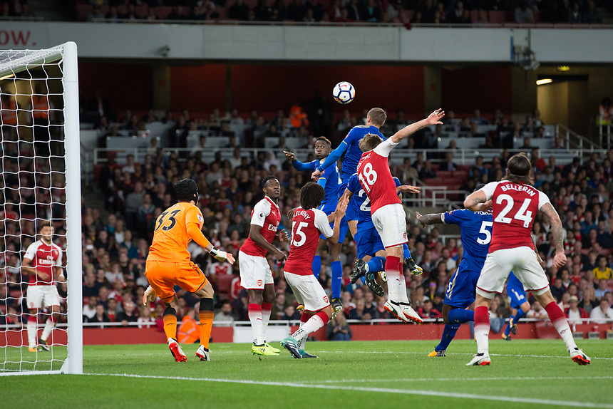 Leicester City's Jamie Vardy scores his sides third goal <br /> <br /> Photographer Craig Mercer/CameraSport<br /> <br /> The Premier League - Arsenal v Leicester City - Friday 11th August 2017 - Emirates Stadium - London<br /> <br /> World Copyright &copy; 2017 CameraSport. All rights reserved. 43 Linden Ave. Countesthorpe. Leicester. England. LE8 5PG - Tel: +44 (0) 116 277 4147 - admin@camerasport.com - www.camerasport.com
