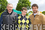 Keith Moriarty centre with his dad Albert and grandfather Pat Donovan all Killorglin three generations of jockey's at the Castleisland races on Sunday