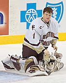 Cory Schneider - The Boston College Eagles defeated the Northeastern University Huskies 5-2 in the opening game of the 2006 Beanpot at TD Banknorth Garden in Boston, MA, on February 6, 2006.