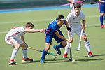 GER - Mannheim, Germany, April 15: During the field hockey 1. Bundesliga match between Mannheimer HC (blue) and Rot-Weiss Koeln (white) on April 15, 2018 at Am Neckarkanal in Mannheim, Germany. Final score 2-2.  Danny Nguyen #22 of Mannheimer HC<br /> <br /> Foto &copy; PIX-Sportfotos *** Foto ist honorarpflichtig! *** Auf Anfrage in hoeherer Qualitaet/Aufloesung. Belegexemplar erbeten. Veroeffentlichung ausschliesslich fuer journalistisch-publizistische Zwecke. For editorial use only.