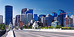 Calgary city downtown skyline panoramic view from Centre Street Bridge. Calgary, Alberta, Canada 2017.