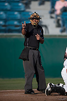 Home plate umpire Luis Hernandez during a California League game between the Modesto Nuts and San Jose Giants at San Jose Municipal Stadium on May 12, 2018 in San Jose, California. Modesto defeated San Jose 7-5. (Zachary Lucy/Four Seam Images)