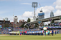 Teams, players and officials together for the  National Anthems during India vs Australia, ICC World Cup Cricket at The Oval on 9th June 2019
