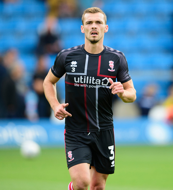 Lincoln City's Harry Toffolo during the pre-match warm-up<br /> <br /> Photographer Andrew Vaughan/CameraSport<br /> <br /> The EFL Sky Bet League One - Wycombe Wanderers v Lincoln City - Saturday 7th September 2019 - Adams Park - Wycombe<br /> <br /> World Copyright © 2019 CameraSport. All rights reserved. 43 Linden Ave. Countesthorpe. Leicester. England. LE8 5PG - Tel: +44 (0) 116 277 4147 - admin@camerasport.com - www.camerasport.com