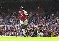 Premiership Football - Arsenal v Leicester City:.2003/04 Season - 15/05/2004  [Record breaking Season undefeated] .Patrick Vieira, run's in to score his first goal, beating and leaving Fox's keeper Ian Walker and to make the score 2-1.[Mandatory Credit] Peter Spurrier Intersport Images