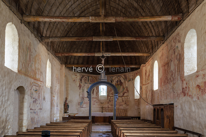 France, Loir-et-Cher (41), Saint-Jacques-des-Guérets, l'église Saint-Jacques, les fresques // France, Loir et Cher, Saint Jacques des Guerets, the church Saint Jacques, frescoes