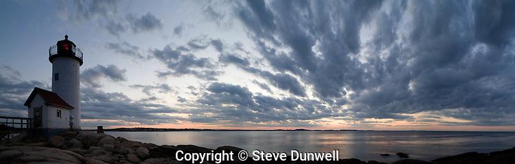 lighthouse sunset, panorama, Annisquam, Cape Ann, MA