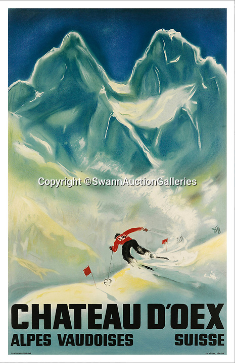 BNPS.co.uk (01202)558833Pic:  SwannAuctionGalleries/BNPS<br /> <br /> Stylish Chateau D'oex in Switzerland.<br /> <br /> A stunning collection of vintage ski posters depicting the halcyon days of European winter holidays has emerged for sale for £70,000. ($90,000)<br /> <br /> The superb selection features early lithograph prints of advertising posters for glamorous resorts including Davos and Chamonix.<br /> <br /> The earliest posters in the sale date from the turn of the 20th century, with the most recent examples from the 1950s.<br /> <br /> Sixty-two posters, which range in value from a few hundred pounds to £5,000, are being sold by Swann Galleries, who are based in New York.