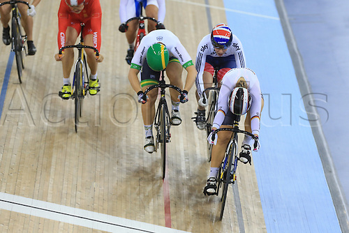 03.03.2016. Lee Valley Velo Centre, London England. UCI Track Cycling World Championships. Womens Keirin finals.  VOGEL Kristina (GER) - MEARES Anna (AUS) - JAMES Rebecca (GBR) - GUO Shuang (CHN) - BASOVA Liubov (UKR) - LEE Hyejin (KOR)