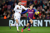 2nd February 2019, Camp Nou, Barcelona, Spain; La Liga football, Barcelona versus Valencia; Philippe Coutinho of FC Barcelona challenges for the ball against Piccini of Valencia CF