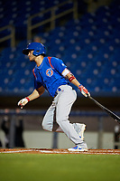 South Bend Cubs shortstop Rafael Narea (2) follows through on a swing during the second game of a doubleheader against the Lake County Captains on May 16, 2018 at Classic Park in Eastlake, Ohio.  Lake County defeated South Bend 5-2.  (Mike Janes/Four Seam Images)
