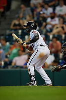 Richmond Flying Squirrels Jalen Miller (1) squares to bunt during an Eastern League game against the Binghamton Rumble Ponies on May 29, 2019 at The Diamond in Richmond, Virginia.  Binghamton defeated Richmond 9-5 in ten innings.  (Mike Janes/Four Seam Images)