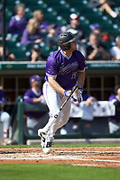 Jared Mihalik (33) of the Furman Paladins starts down the first base line against the Wake Forest Demon Deacons at BB&T BallPark on March 2, 2019 in Charlotte, North Carolina. The Demon Deacons defeated the Paladins 13-7. (Brian Westerholt/Four Seam Images)