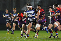 Nathan Catt of Bath United goes on the attack. Remembrance Rugby match, between Bath United and UK Armed Forces on November 9, 2015 at the Recreation Ground in Bath, England. Photo by: Patrick Khachfe / Onside Images
