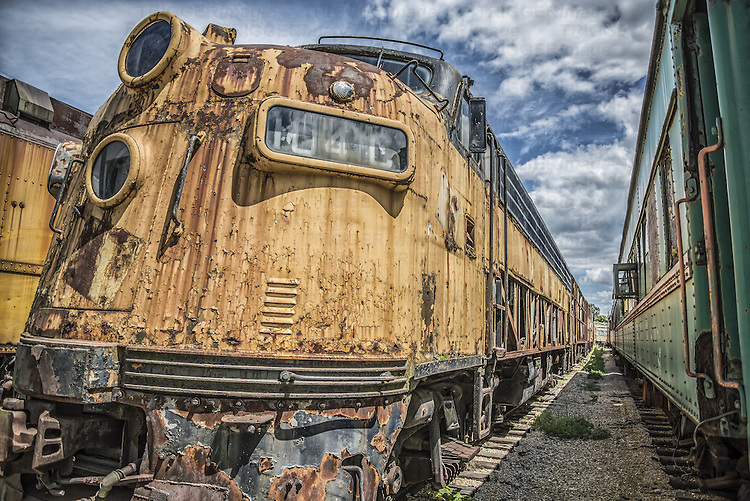 Rusting old locomotive left to deteriorate in American train yard