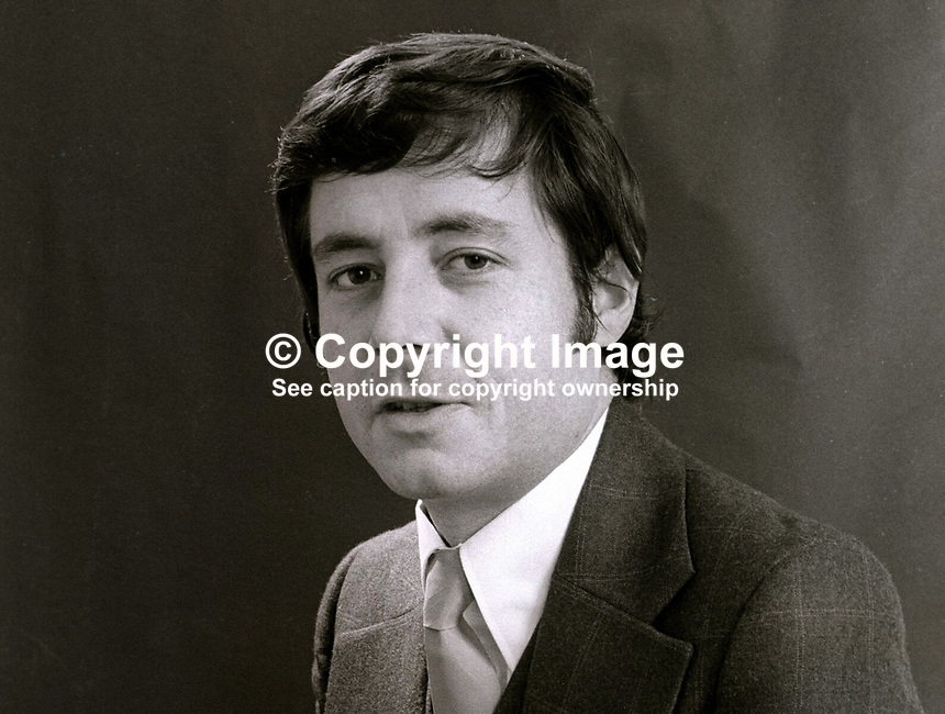 Tony Cowdy, journalist, formerly public relations officer with Alliance Party of N Ireland. November, 1973. 197311080672<br /> <br /> Copyright Image from Victor Patterson, 54 Dorchester Park, <br /> Belfast, UK, BT9 6RJ<br /> <br /> t1: +44 28 9066 1296 (from Rep of Ireland 048 9066 1296)<br /> t2: +44 28 9002 2446 (from Rep of Ireland 048 9002 2446)<br /> m: +44 7802 353836<br /> <br /> e1: victorpatterson@me.com<br /> e2: victorpatterson@gmail.com<br /> <br /> www.victorpatterson.com<br /> <br /> Please see my Terms and Conditions of Use at VICTORPATTERSON.COM. It is IMPORTANT that you familiarise yourself with them.<br /> <br /> Images used on the Internet must be visibly watermarked i.e. &copy;VICTORPATTERSON.COM within the body of the image and copyright metadata must not be deleted. Images used on the Internet have a size restriction of 4kbs and are chargeable at the then current NUJ rates.<br /> <br /> This image is only available for the use of the download recipient i.e. television station, newspaper, magazine, book publisher, etc, and must not be passed on to any third party. It is also downloaded on condition that each and every usage is notified within 7 days to victorpatterson@me.com<br /> <br /> The right of Victor Patterson to be identified as the author is asserted in accordance with The Copyright Designs And Patents Act (1988).