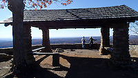 NWA Democrat-Gazette/FLIP PUTTHOFF <br /> Hikers savor the view      Nov. 30 2016     from an overlook at White Rock Mountain.
