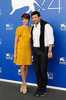 Italian actress Micaela Ramazzotti, left, and French singer, actor, and professional poker player Patrick Bruel attend a photo call for the movie 'Una Famiglia' at the 74th Venice Film Festival, Venice Lido, September 4, 2017. <br /> UPDATE IMAGES PRESS/Marilla Sicilia<br /> <br /> *** ONLY FRANCE AND GERMANY SALES ***