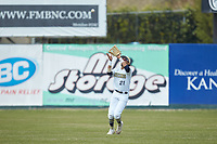 Queens Royals center fielder CJ Hammonds (21) catches a fly ball during the game against the Mars Hill Lions at Intimidators Stadium on March 30, 2019 in Kannapolis, North Carolina. The Royals defeated the Bulldogs 11-6 in game one of a double-header. (Brian Westerholt/Four Seam Images)
