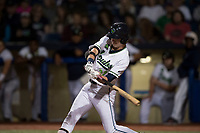 Hillsboro Hops left fielder Kevin Watson Jr (27) swings at a pitch during a Northwest League game against the Salem-Keizer Volcanoes at Ron Tonkin Field on September 1, 2018 in Hillsboro, Oregon. The Salem-Keizer Volcanoes defeated the Hillsboro Hops by a score of 3-1. (Zachary Lucy/Four Seam Images)