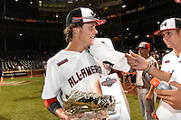 Ryan Mountcastle (5) of Paul J. Hagerty High School in Winter Springs, Florida with his MPV trophy after the Under Armour All-American Game on August 16, 2014 at Wrigley Field in Chicago, Illinois.  (Mike Janes/Four Seam Images)