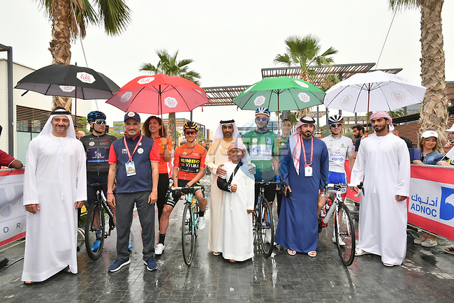 The leaders jerseys lined up before the start of Stage 6 of the 2019 UAE Tour, running 175km form Ajman to Jebel Jais, Dubai, United Arab Emirates. 1st March 2019.<br /> Picture: LaPresse/Massimo Paolone | Cyclefile<br /> <br /> <br /> All photos usage must carry mandatory copyright credit (© Cyclefile | LaPresse/Massimo Paolone)