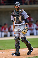 Catcher Chris Hatcher #36 of the Jacksonville Suns on defense against the Carolina Mudcats at Five County Stadium May 16, 2010, in Zebulon, North Carolina.  Photo by Brian Westerholt /  Seam Images