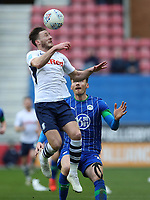 8th February 2020; DW Stadium, Wigan, Greater Manchester, Lancashire, England; English Championship Football, Wigan Athletic versus Preston North End; Tom Barkhuizen of Preston North End  wins a header